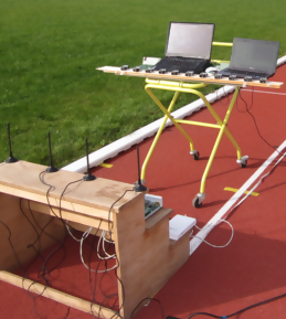 Exerimental setup on a sports field.